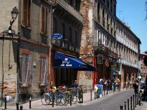 Toulouse - Street, café terrace and houses of the old town