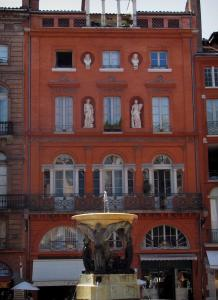 Toulouse - Residence, shops and fountain of the Trinité square