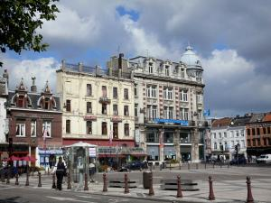 Tourcoing - République square, shops and houses of the city