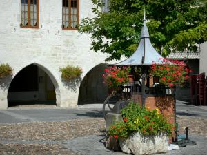 Tournon-d'Agenais - Bastide town: flower-bedecked well and houses with arcades of the Place des Cornières square