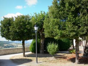 Tournon-d'Agenais - Public garden with trees and a lamppost with a view of the surrounding landscape