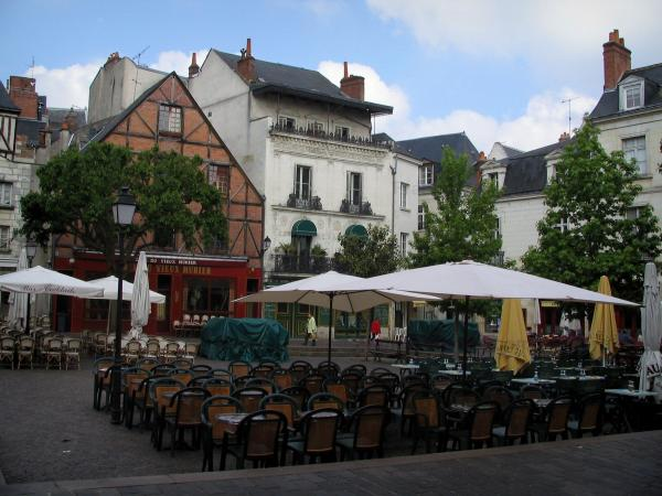 Tours - Plumereau square with its houses and its cafe terraces