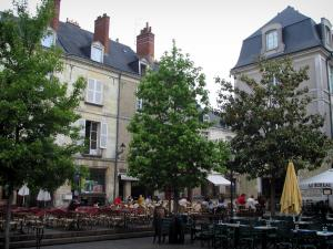 Tours - Plumereau square with its houses, its cafe terraces and its trees