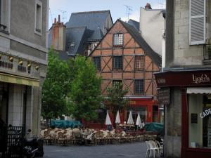 Tours - Houses and café terrace of the Plumereau square