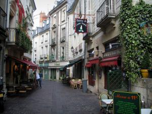 Tours - Street of the old town with its houses and its restaurant terraces