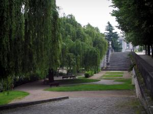 Tours - Garden on the edge of the Loire (river) featuring weeping willows trees and with benches