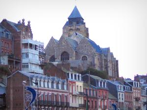 Le Tréport - The Saint-Jacques church and houses of the city (seaside resort)