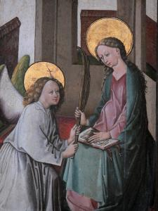 Triptychs of Ternant - Painted shutter (painting of the Annunciation) of the altarpiece of the Virgin, in the Saint-Roch church