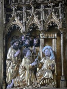 Triptychs of Ternant - Details of the central carved panel of the altarpiece of the Virgin (Flemish triptych), in the Saint-Roch church