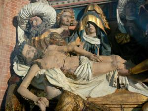 Triptychs of Ternant - Carved panel (Entombment) of the altarpiece of the Passion, in the Saint-Roch church