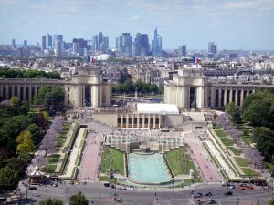 Trocadéro - View of the Palais de Chaillot, the Trocadéro gardens and the La Défence district in the background from the top of the Eiffel tower