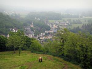 Trôo - From the top of the mound of the village, view of a prairie with a horse, trees and houses