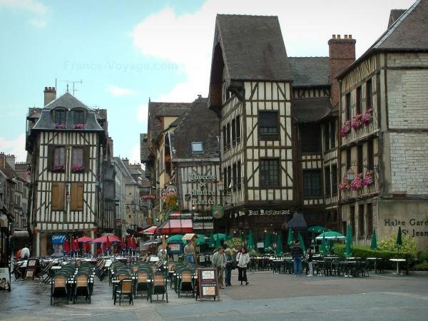 Troyes - Alexandre-Israël square with its old timber-framed houses and its cafe terraces