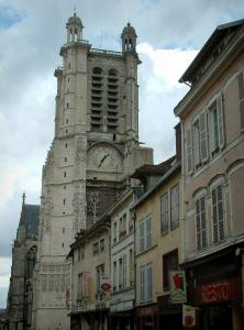 Troyes - Facades of houses and tower of the Saint-Pierre-et-Saint-Paul cathedral of Gothic style