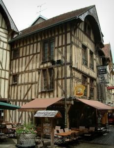 Troyes - Old timber-framed houses and a café terrace