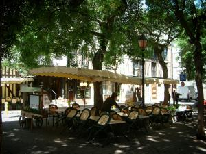 Troyes - Marché-au-Pain square shaded by trees with a restaurant terrace
