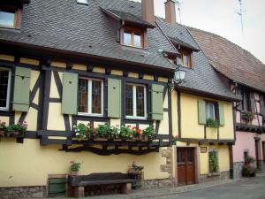 Turckheim - Colourful half-timbered houses, flowers and a wooden bench