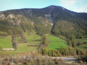 Ubaye valley - Ubaye river, prairies, trees and mountain