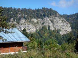 Upper Jura Regional Nature Park - Jura mountain range: chalet overlooking the mountains and forest