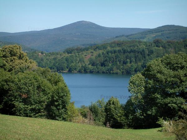 Upper Languedoc Regional Nature Park - Meadow, trees, Laouzas lake and hills covered with forests