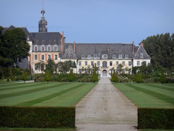 Valloires gardens - Valloires Cistercian abbey, rose garden and path lined with lawns