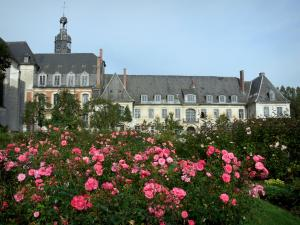Valloires gardens - Rose garden and the Valloires Cistercian abbey