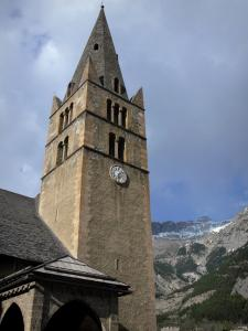 Vallouise - Bell tower and hall of the Saint-Etienne church, mountain; in the Écrins National Nature Park