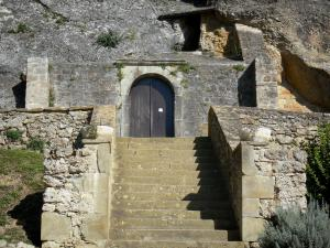 Vals rock church - Stair leading to the entrance of the Sainte-Marie church