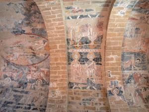 Vals rock church - Inside the Sainte-Marie church: Romanesque mural paintings (frescoes)