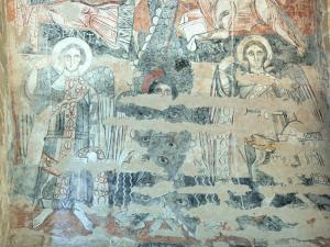 Vals rock church - Inside the Sainte-Marie church: Romanesque painted mural (fresco)