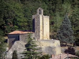 Vals rock church - View of the Sainte-Marie church and its bell tower, trees in the background