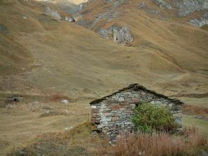 Vanoise massif - Vanoise national park: stone sheepfold (construction), shrub, vegetation and alpine lawn (Grande Alpes (Alps) road)