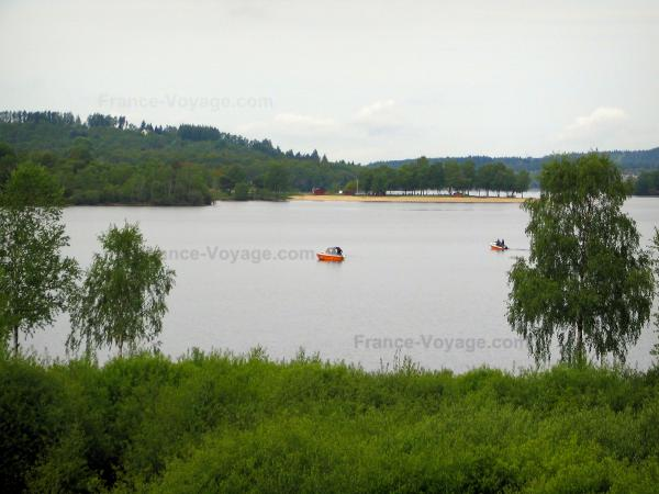 Vassivière lake - Shrubs in foreground, trees, artificial lake, boats, beach and forest
