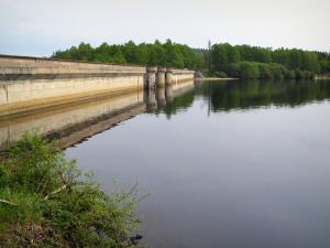 Vassivière lake - Dam, artificial lake and trees