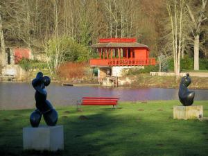 Vaux-de-Cernay abbey - Statues, bench, pond and trees, in the Upper Chevreuse Valley Regional Nature Park