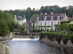 Vendôme - The Loir River, trees and houses of the old town