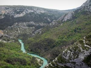 Verdon gorges - Verdon Grand canyon: Verdon river lined with trees and cliffs (rock faces); in the Verdon Regional Nature Park