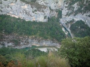 Verdon gorges - Verdon Regional Nature Park: view of vegetation, trees, rock faces and the confluence (stream crossing) of the Verdon and Artuby rivers