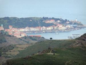 Vermilion coast - View of the resort of Port-Vendres, Banyuls vineyard and the Mediterranean sea