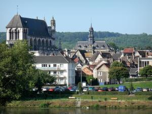 Vernon - Notre-Dame collegiate church, town hall and old town of Vernon along River Seine