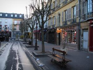 Versailles - Houses, shops, trees, bench and street of the royal city