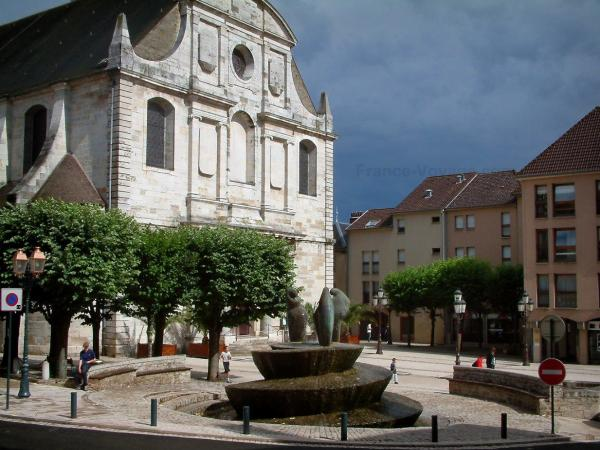 Vesoul - Saint-Georges church, buildings and square with fountain and trees