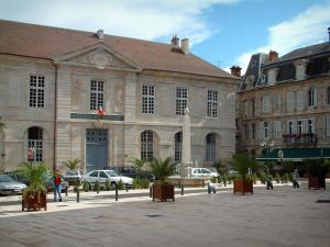Vesoul - The palais de justice (law courts), building and place decorated with an obelisk fountain and palm trees in jars