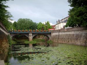 Vesoul - River with water lilies and flower-covered bridge