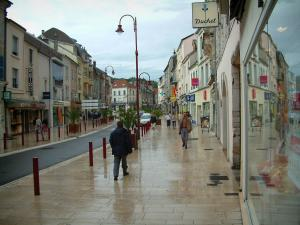 Vesoul - Shopping street with its houses and its shops