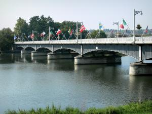 Vichy - Bellerive bridge and its flags, spanning River Allier