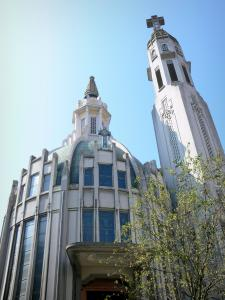 Vichy - New Saint-Blaise church (Notre-Dame-des-Malades church) of Art-Deco style and its bell tower