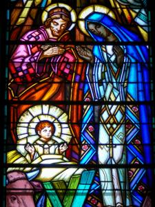 Vichy - Inside the new Saint-Blaise church (Notre-Dame-des-Malades church): stained glass window