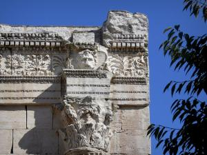 Vienne - Garden Cybele (Archaeological Garden): carved details of the forum portico (Gallo-Roman remains)