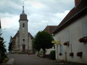 Villages of the Haute-Saône - Houses and church of a village
